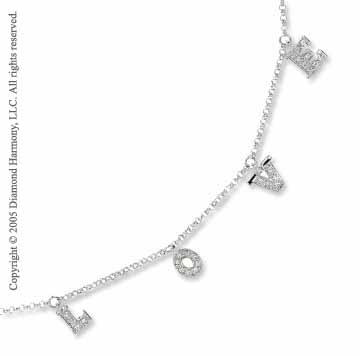 14k White Gold LOVE Letter 1/6  Carat Diamond Charm Ankle Bracelet
