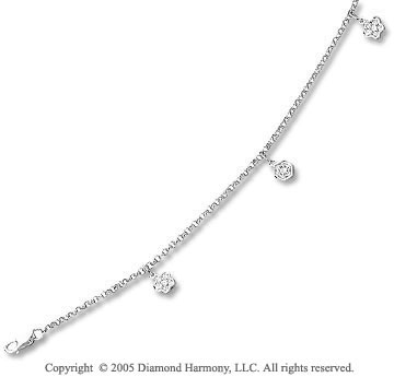 14k White Gold Flower Charms 1/6  Carat Diamond Ankle Bracelet