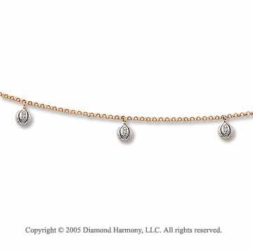 14k Two Tone Gold Deco Style Charms Diamond Anklet
