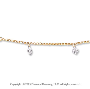 14k Two Tone Gold Geometric Charms Diamond Ankle Bracelet