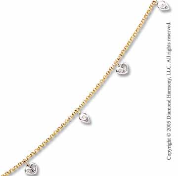 14k Two Tone Gold Heart Teardrop Charm Diamond Ankle Bracelet