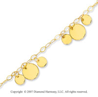 14k Yellow Gold Sleek Round Fashionable Ankle Bracelet