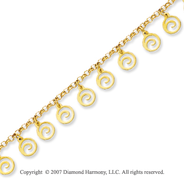 14k Yellow Gold Swirl Circle Fashionable Ankle Bracelet