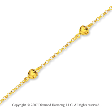 14k Yellow Gold Slick Elegant Style Heart Ankle Bracelet