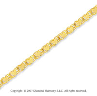 14k Yellow Gold Unique Elegant Style Heart Ankle Bracelet