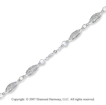 14k White Gold Grand Elegance Style Ankle Bracelet