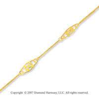 14k Yellow Gold Filigree Link Stylish Ankle Bracelet