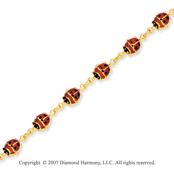 14k Yellow Gold Stylish Charming Ladybug Ankle Bracelet