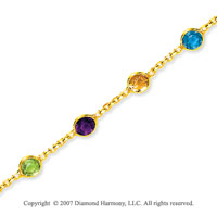 14k Yellow Gold Multi Gem Fashionable Ankle Bracelet