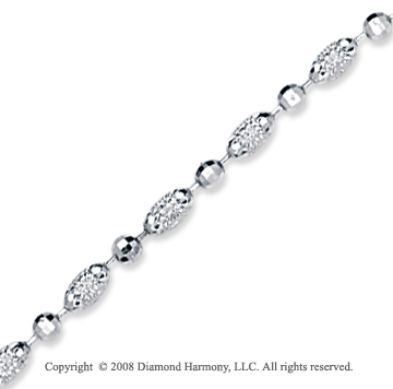 14k White Gold Classic Fashionable Bead Ankle Bracelet