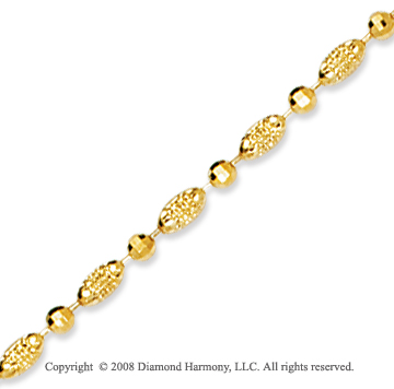 14k Yellow Gold Classic Fashionable Bead Ankle Bracelet