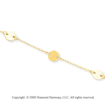 14k Yellow Gold Adjustable Disk Ankle Bracelet