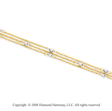 14k Two Tone Gold Triple Strand Beaded Ankle Bracelet
