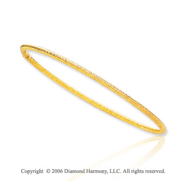 14k Yellow Gold Slip-On 2.5mm Florentine Stackable Bangle Bracelet
