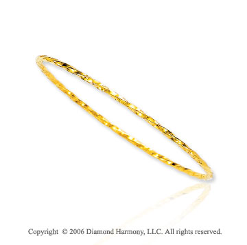 14k Yellow Gold 2.5mm Stackable 8 inch Bangle Bracelet