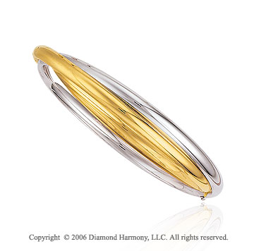 14k Two Tone Gold Overlapping Open Hinge Bangle Bracelet