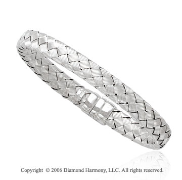 14k White Gold Hidden Clasp Woven 8mm Bangle Bracelet