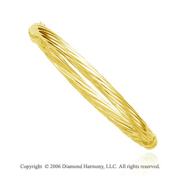14k Yellow Gold 7 inch Braided 5.5mm Bangle Bracelet