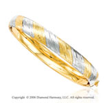 14k Two Tone Gold Braided Wrap 10mm Bangle Bracelet