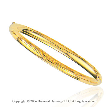 14k Yellow Gold 7 inch Classic Shine 5mm Bangle Bracelet