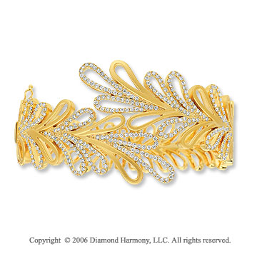 14k Yellow Gold Layered Loops Diamond Bangle Bracelet