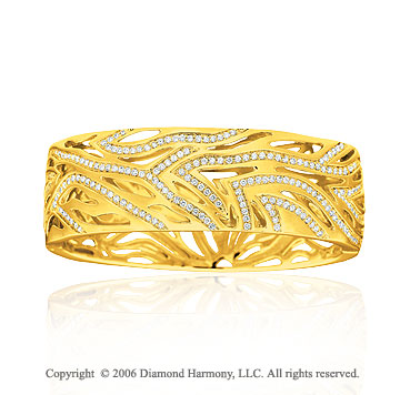 14k Yellow Gold Open 2.35  Carat Diamond Bangle Bracelet
