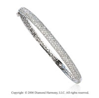 14k White Gold Classic 2.80  Carat Diamond Bangle Bracelet