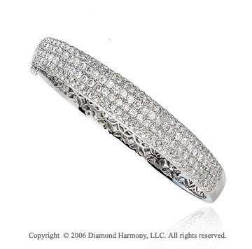 14k White Gold Medium 4.60  Carat Diamond Bangle Bracelet