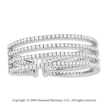 14k White Gold Four Band 8.00 Carat Diamond Bangle Bracelet
