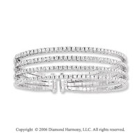 14k White Gold Four Band 4.75 Carat Diamond Bangle Bracelet