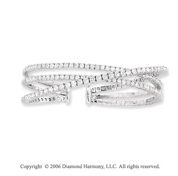 14k White Gold 3 Band 4.50 Carat Diamond Bangle Bracelet