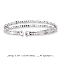 14k White Gold Two Band 2.00  Carat Diamond Bangle Bracelet