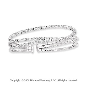 14k White Gold 3 Band 3.00 Carat Diamond Bangle Bracelet