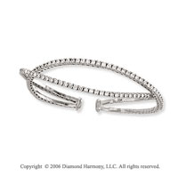 14k White Gold Two Band 3.00  Carat Diamond Bangle Bracelet