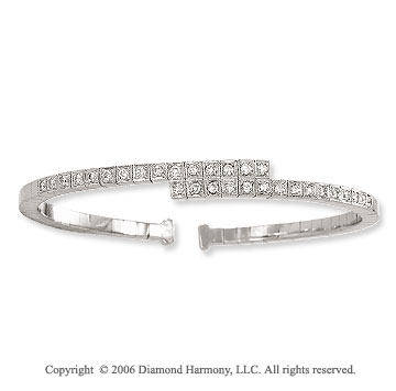 14k White Gold Overlap .75  Carat Diamond Bangle Bracelet