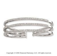 14k White Gold Three Band .75 Carat Diamond Bangle Bracelet
