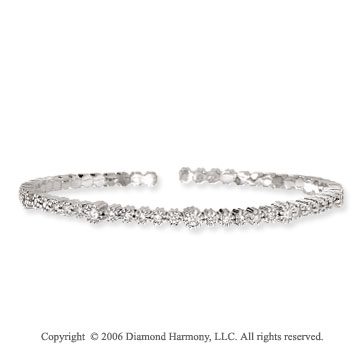 14k White Gold Prong .60  Carat Diamond Bangle Bracelet