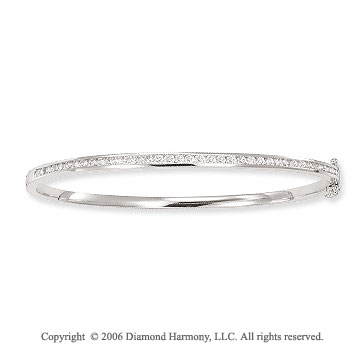 14k White Gold Thin 1.15  Carat Diamond Bangle Bracelet