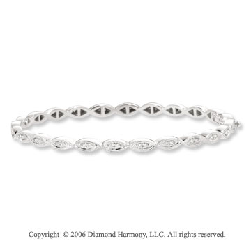 14k White Gold Milgrain .40  Carat Diamond Bangle Bracelet