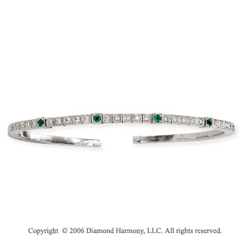14k White Gold Four Emerald Diamond Bangle Bracelet