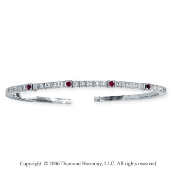 14k White Gold Four Ruby .45  Carat Diamond Bangle Bracelet