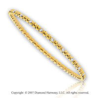 14k Yellow Gold Bezel 1/3 Carat Slip On Diamond Bangle