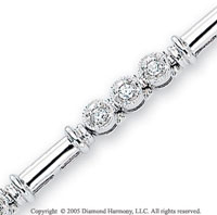 14k White Gold 4mm Three Stone 1/3 Carat Diamond Bracelet