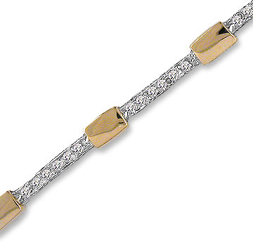 14k Two Tone Gold Brick Pave .40  Carat Diamond Bracelet