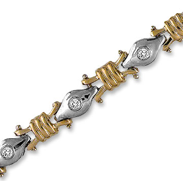 14k Two Tone Gold Braid Bezel 1/2  Carat Diamond Bracelet