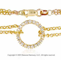 14k Yellow Gold 1/4  Carat Circle of Life Diamond Bracelet