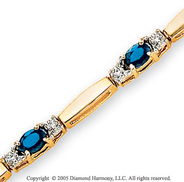 14k Yellow Gold Blue Sapphire 1/4 Carat Diamond Bracelet