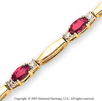 14k Yellow Gold Bar 3.5mm Ruby 1/4  Carat Diamond Bracelet