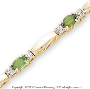 14k Yellow Gold Bar Emerald 1/4  Carat Diamond Bracelet