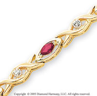 14k Yellow Gold Diamond Marquise Ruby XOXO Bracelet